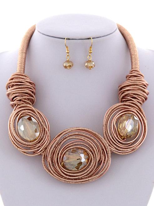 Rose Gold Topaz Necklace Set