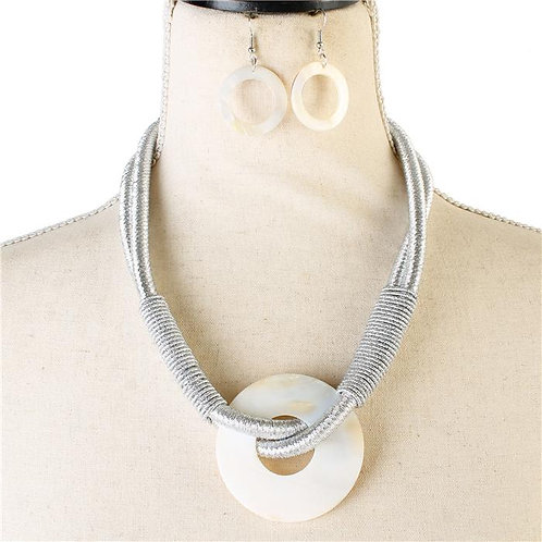 Shell Fashion Cord Round Necklace & Earring Set (Silver)