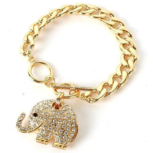 Chain Link Rhinestone Elephant Bracelet