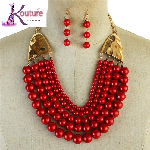 Multi Strand Red Pearl Necklace Set