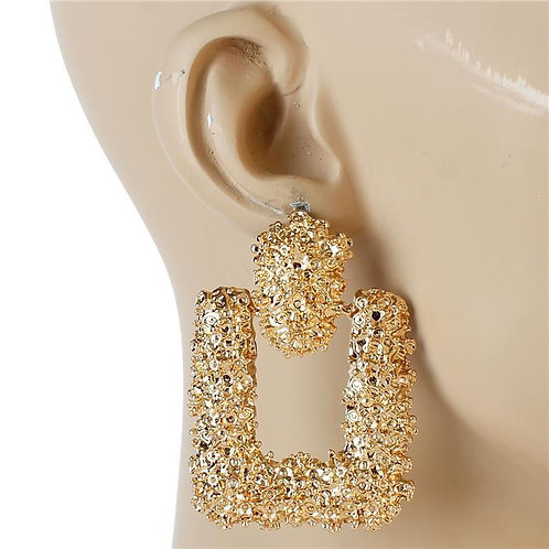 Hammered Metal Door Knocker Earrings (Gold)