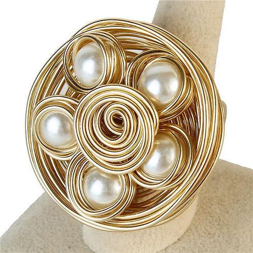 Pearl Wire Wrapped Oversized Ring (Gold)