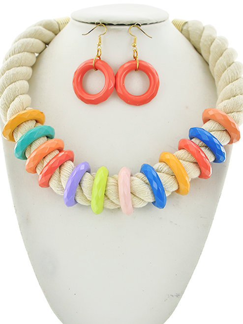 Rope/Acrylic Statement Necklace & Earrings Set