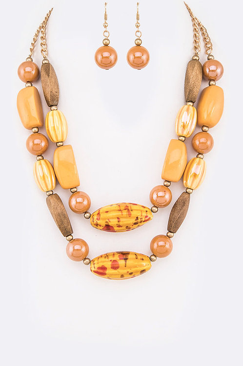 Resin Wood/Beads Necklace & Earring Set