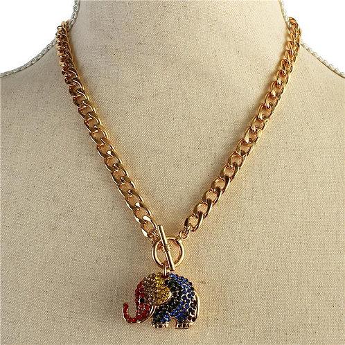 Rhinestone Elephant Chain Link Necklace (Multi)