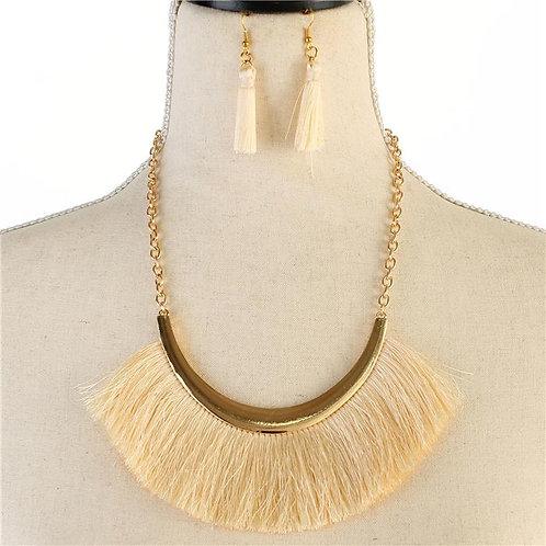 Crescent Tassel Necklace & Earring Set (Gold/Ivory)