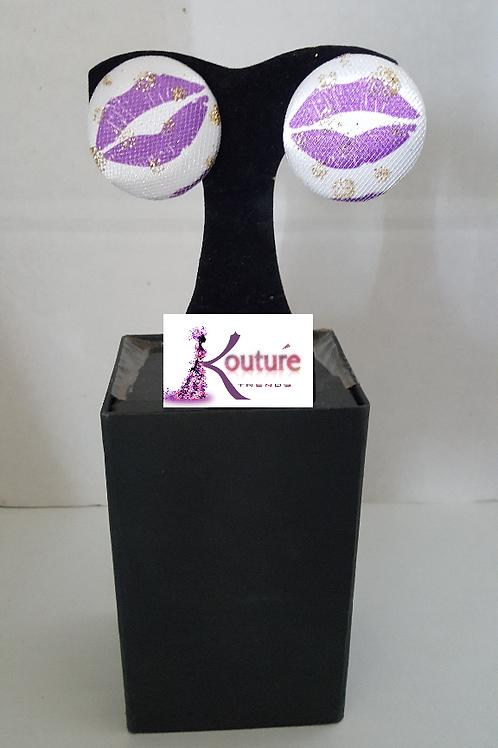 KT Signature Kisses Brand Earrings (Purple)