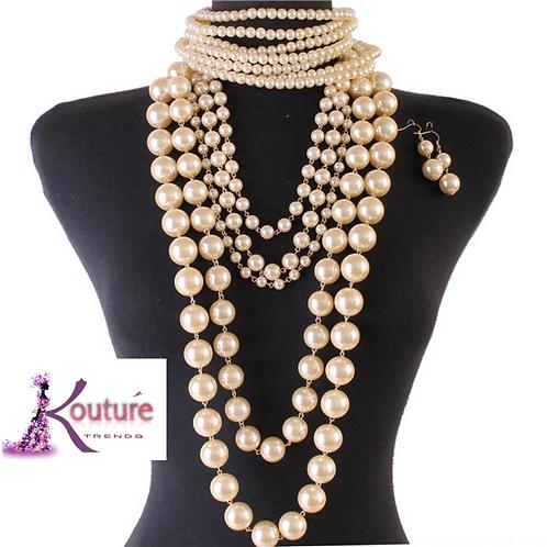 Goddess Pearls Multi-Strand Statement Necklace & Earrings Set w/Choker