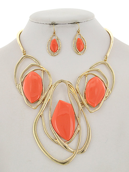 Gold/Coral Statment Necklace & Earring Set