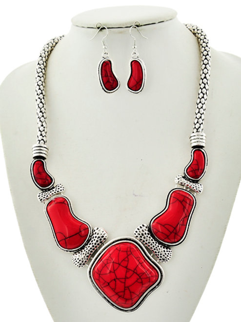 Silver/Red Necklace & Earring Set