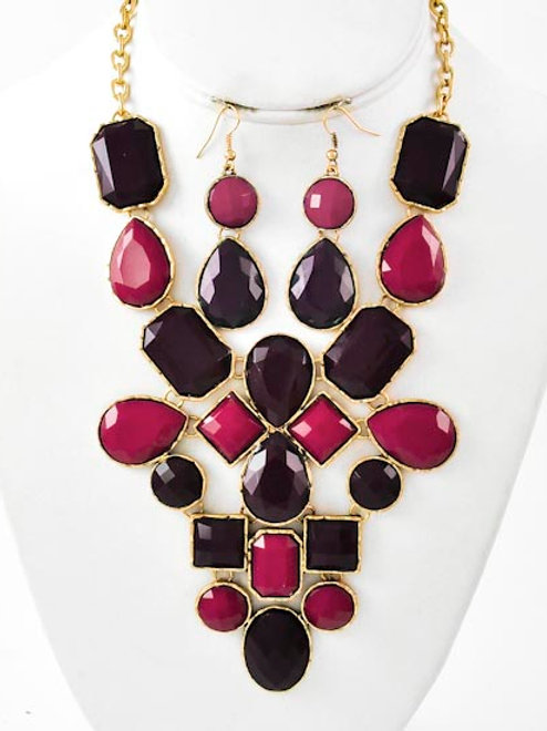 Acrylic Statement Necklace & Earring Set