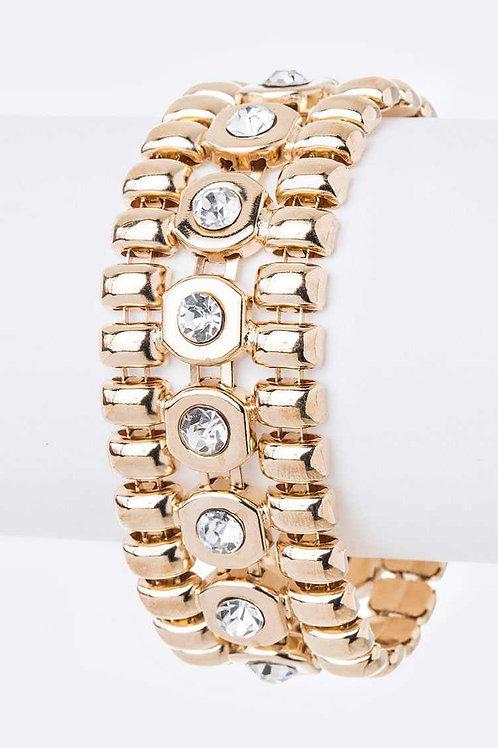 Crystal Chain Stretch Bracelet (Gold)