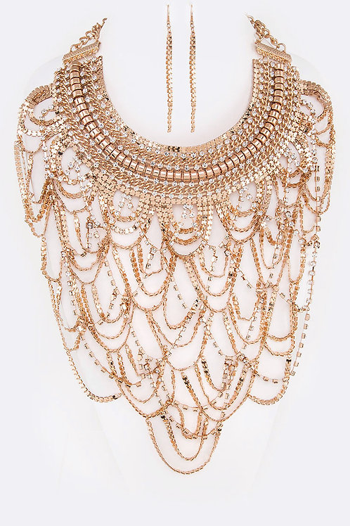 Rhinestone Mix Chain Drop Statement Earring & Necklace Set (Gold)