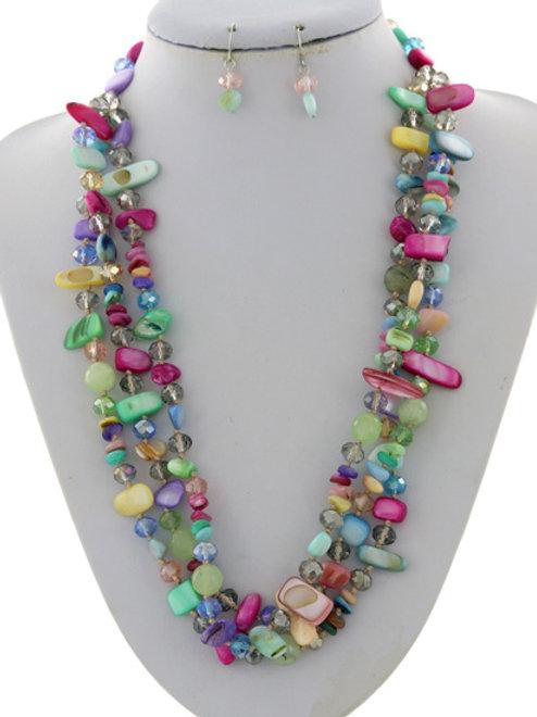 Multi Strand Acrylic Beads Necklace Set (Pastel)