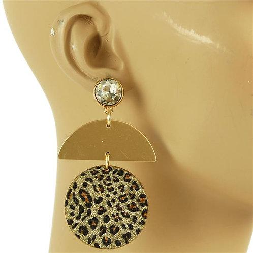 Fashion Geometric Gold Animal Print Earrings