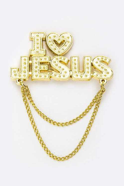 I Love Jesus Gold Brooch