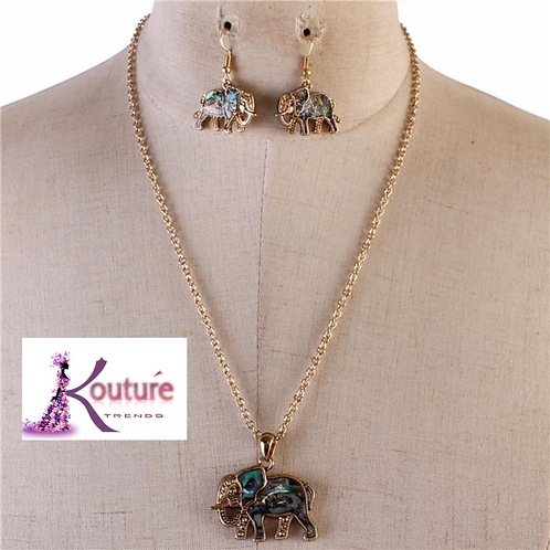 Gold Mother of Pearl Elephant Necklace Set