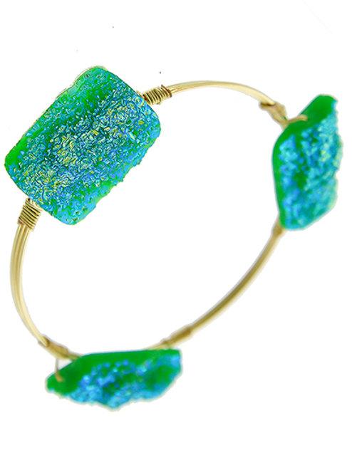 Bangle- Gold Tone Druzy Acrylic Bangle (Turquoise)