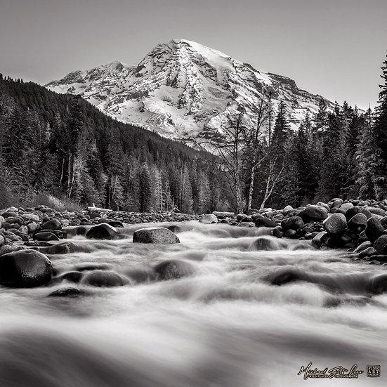 Nisqually River and Mt Rainier in Mount Rainier National Park, Washington State, America. Michael Scott Lees fine art photo