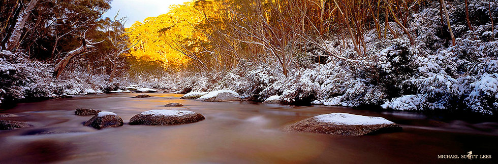 Thredbo River in the snow, Kosciuszko National Park, Australia. Fine Art Photography Prints for Sale by Michael Scott Lees