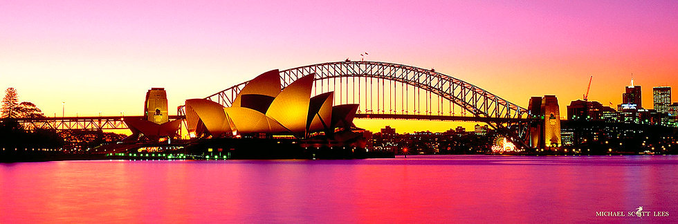 Sunset view of the Sydney Opera House and Bridge, Sydney, Australia. Fine Art Photography Prints for Sale