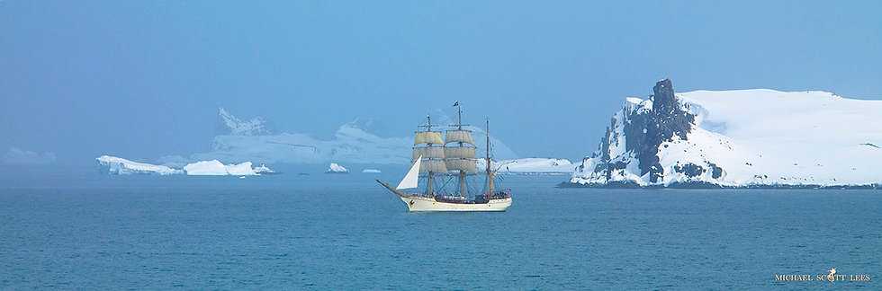 """""""Europa"""" a Netherlands sailing vessel sailing in Antarctica. Fine Art Photography Prints for Sale by Michael Scott Lees photo"""