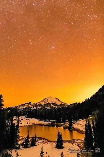 Tipsoo lake and Mt Rainier in Mount Rainier National Park, Washington State, America. Michael Scott Lees fine art photograph