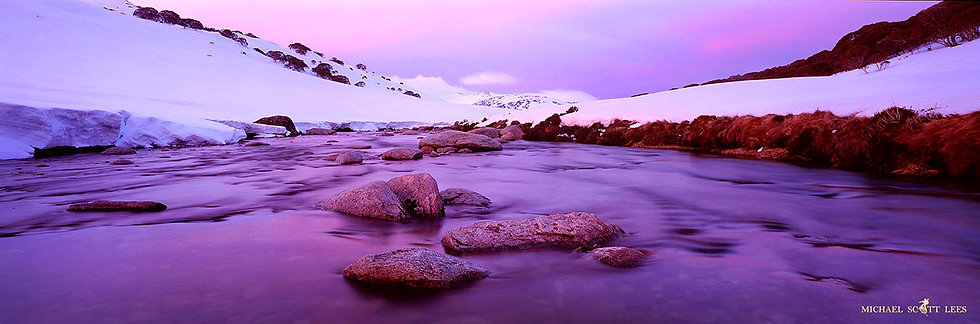 Snowy River with snow, Kosciuszko National Park, Australia. Fine Art Photography Prints for Sale by Michael Scott Lees photo
