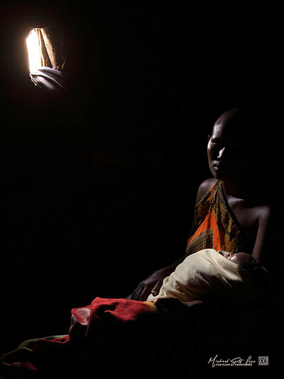 Maasai Baby and mother in a hut in Amboseli National Park in Kenya, Africa, Michael Scott Lees fine art photographic prints
