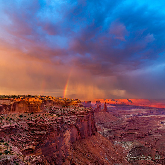 Sunset storm at Mesa Arch in the Canyonland National Park, America. Michael Scott Lees fine art photographic prints for sale
