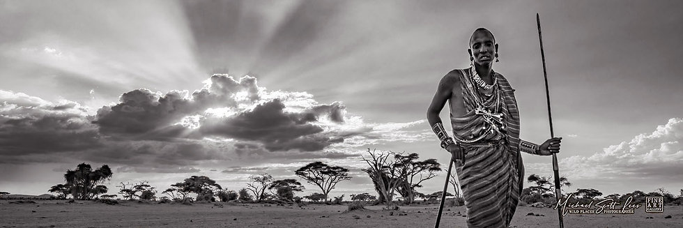 Maasai Tribesman with storm cloud in Amboseli National Park, Kenya, Africa, Michael Scott Lees fine art photographic prints