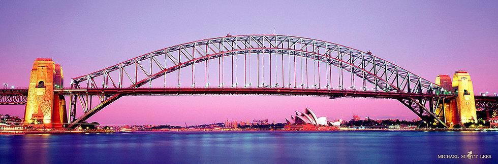 Dusk view of the Sydney Opera House and Bridge, Sydney, Australia. Fine Art Photography Prints for Sale by Michael Scott Lees