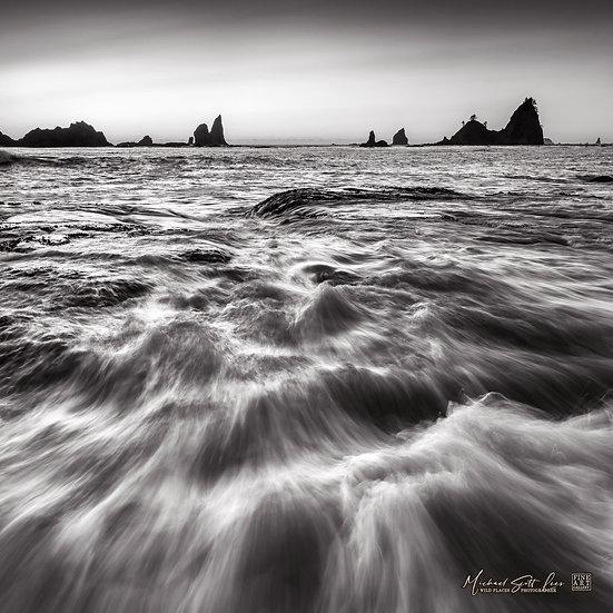 Ocean surge near Rialto Beach in Olympic Coast National Park, Washington State, America. Michael Scott Lees fine art photo