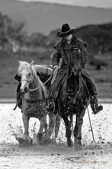 Horse riders at Lake Jillamatong, Snowy Mountains, Australia. Fine Art Photography Prints for Sale by Michael Scott Lees phot