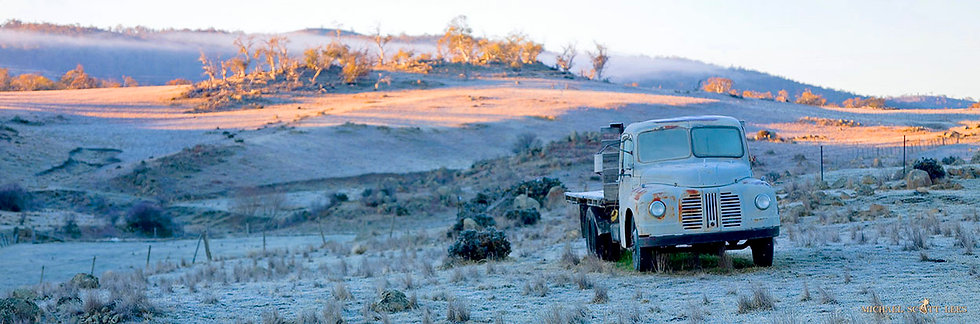 Austin truck in the paddock, Snowy Mountains, Australia. Fine Art Photography Prints for Sale by Michael Scott Lees photo