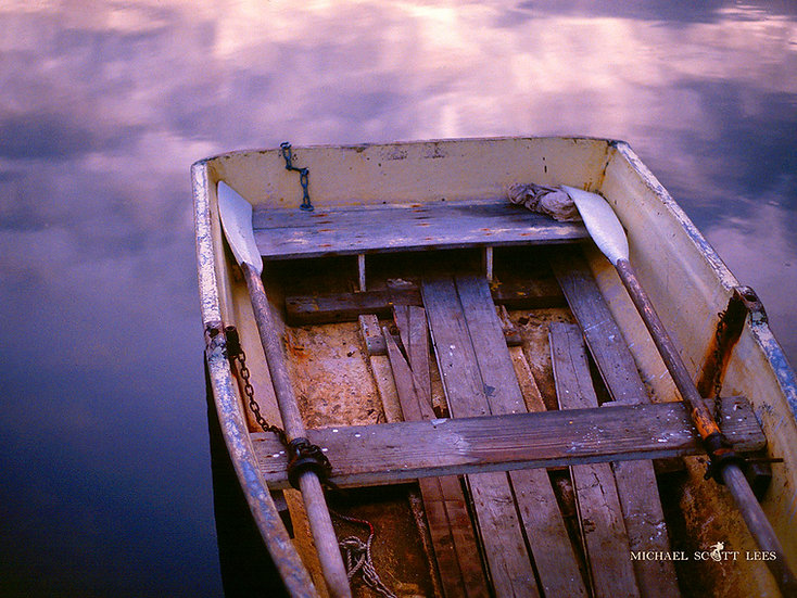 Old rowing boat in mauve reflections, Sydney, Australia. Fine Art Photography Prints for Sale by Michael Scott Lees photograp