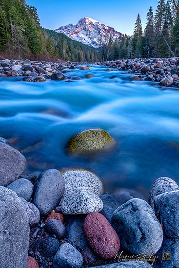 Nisqually River and Mt Rainier in Mount Rainier National Park, Washington State, America. Michael Scott Lees fine art photo