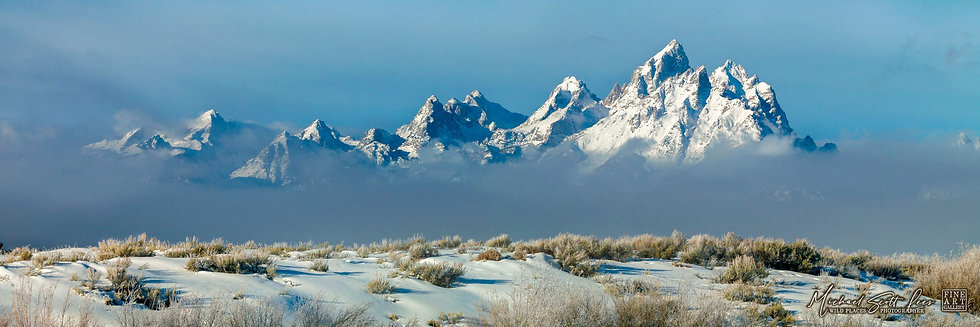 View of the Grand Tetons in Grand Teton National Park in Wyoming, America. Michael Scott Lees fine art photographic prints