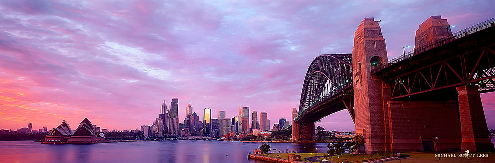 Sunrise view of the Sydney Opera House and Bridge, Sydney, Australia. Fine Art Photography Prints for Sale