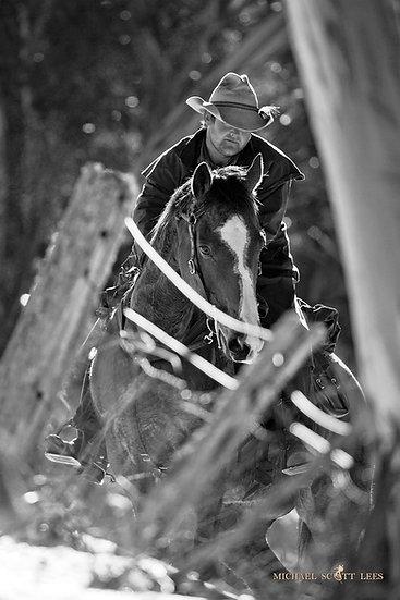 Horseman on Crackenback Ridge, Snowy Mountains, Australia. Fine Art Photography Prints for Sale by Michael Scott Lees photogr