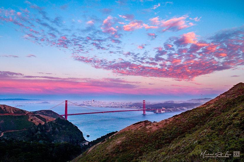 Golden Gate Bridge from Hawk Hill in San Francisco, America. Michael Scott Lees fine art photographic prints for sale