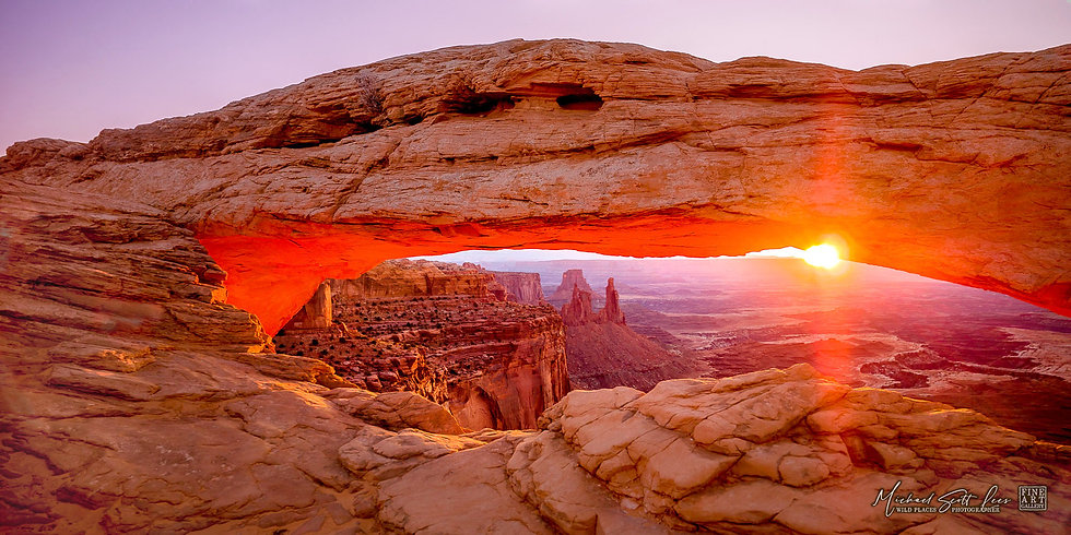 Sunrise at Mesa Arch in the Canyonland National Park, America. Michael Scott Lees fine art photographic prints for sale