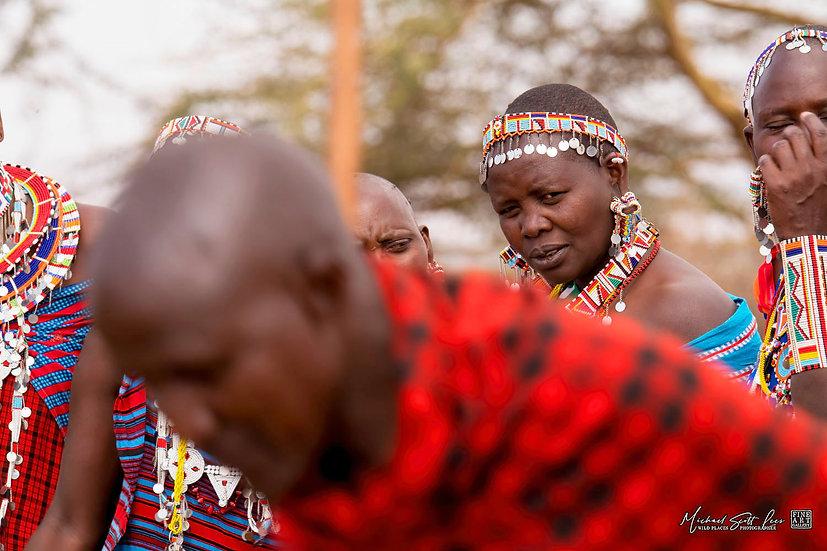 Maasai Tribeswomen watching dancing in Amboseli National Park, Kenya, Africa, Michael Scott Lees fine art photographic prints