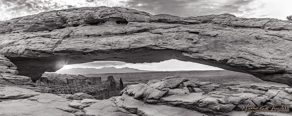 Black and white photo of sunrise at Mesa Arch in the Canyonland National Park, America. Michael Scott Lees fine art photo