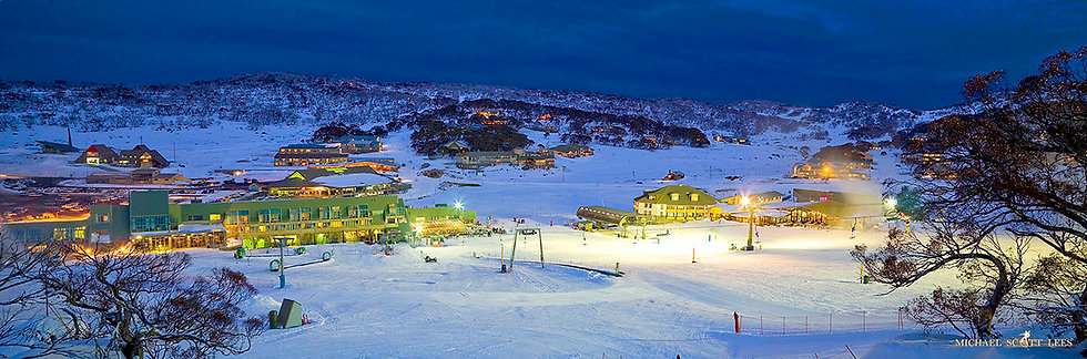 Perisher Resort at night in Kosciuszko National Park, Australia. Fine Art Photography Prints for Sale by Michael Scott Lees p