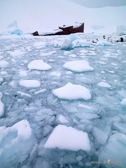 Shipwrecked Norwegian fishing boat, Deception Island, Antarctica. Fine Art Photography Prints for Sale by Michael Scott Lees