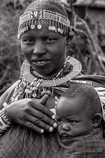 Masai Baby and mother in Amboseli National Park in Kenya, Africa, Michael Scott Lees fine art photographic prints for sale