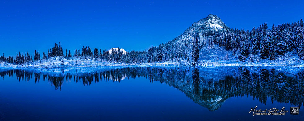 Night photo of Tipsoo lake and Mt Rainier in Mount Rainier National Park, Washington State, America. Michael Scott Lees