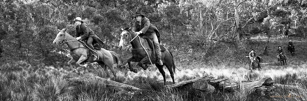 Horse riders at Lake Jillamatong, Snowy Mountains, Australia. Fine Art Photography Prints for Sale by Michael Scott Lees