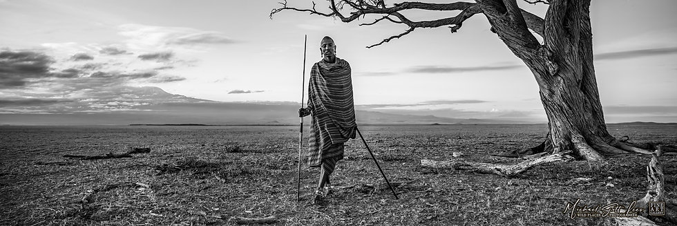 Masai tribesman and Mt Kilimanjaro in Amboseli National Park, Michael Scott Lees fine art photographic prints for sale